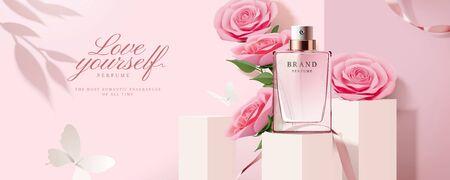 Eleganti banner pubblicitari di profumi con prodotti su podio quadrato e decorazioni di rose di carta in illustrazione 3d Vettoriali