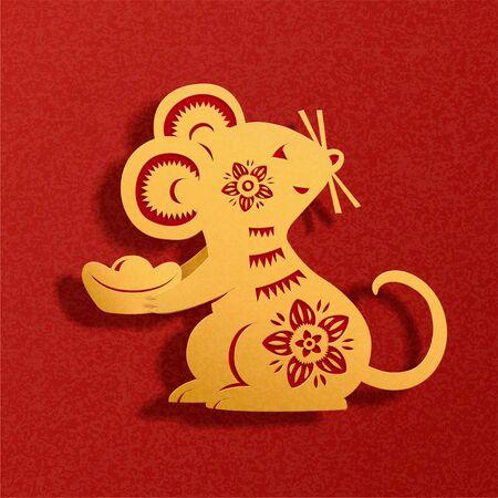 Ratón de arte de papel chino sosteniendo lingotes de oro sobre fondo rojo.