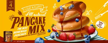 Pancake mix banner ads with honey dripping on delicious fluffy pancakes and fruits in 3d illustration