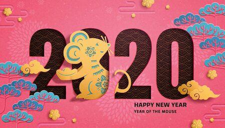 Schattig jaar van de rat papierkunstontwerp met dennenboomelementen op fuchsia achtergrond Vector Illustratie