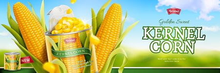Kernel corn canned food banner ads on bokeh blue sky in 3d illustration Stockfoto - 130672599