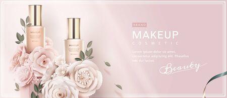 Banner pubblicitari di fondazione con fiori di arte di carta su sfondo rosa chiaro in illustrazione 3d