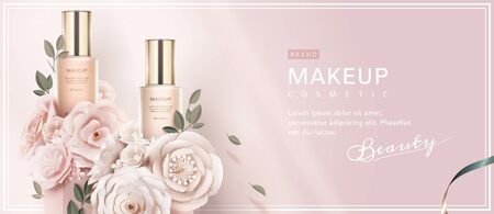 Foundation banner ads with paper art flowers on light pink background in 3d illustration