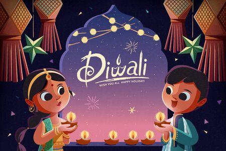 Enfants Diwali tenant des lampes à huile avec des lanternes suspendues dans le fond de la nuit étoilée Vecteurs