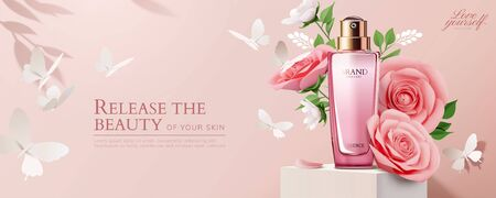 Pink cosmetic ads with paper roses on square podium in 3d illustration Illustration