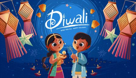 Diwali children holding oil lamp and sparkler with hanging Indian lanterns and sky lanterns in the background Vectores
