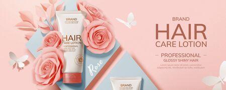 Producto para el cuidado del cabello plano con rosas de papel y decoraciones de mariposas, anuncios de cosméticos de ilustración 3d Ilustración de vector