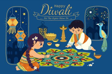 Lovely Diwali illustration with children drawing rangoli scene on blue night background