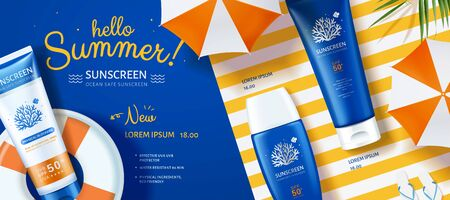 3d illustration Ocean friendly sunscreen laying on lifebuoy and stripe background, lovely sunblock banner ads Stock Illustratie