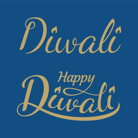 Happy Diwali lettering design with candle light on blue background