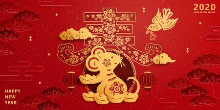 Szczęśliwego nowego roku szczur papierowy trzymający sztabki złota na czerwonym tle, wiosna napisany w chińskim słowie