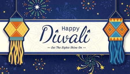 Happy Diwali festival with Indian traditional lanterns and fireworks on blue background Illustration