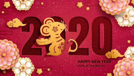 Año del ratón con ratones artísticos de papel y decoración de flores rosadas sobre fondo rojo burdeos Ilustración de vector