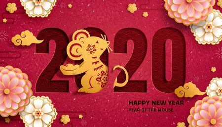 Year of the mouse with paper art mice and pink flower decoration on burgundy red background