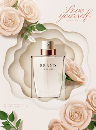 Elegante Parfüm-Plakatanzeigen mit Papierrosen und hohlem Hintergrund in 3D-Darstellung
