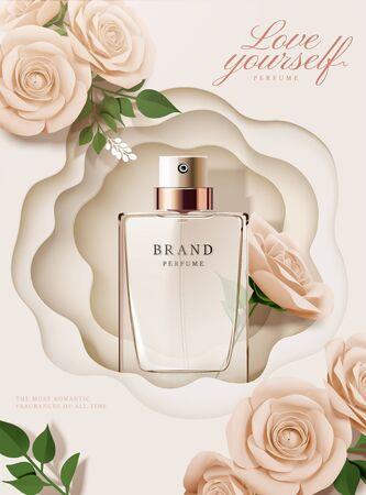 Eleganti annunci di poster di profumi con rose di carta e sfondo vuoto in illustrazione 3d
