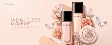 Flat lay foundation in glass bottle with paper roses and butterfly, 3d illustration cosmetic ads Stock Illustratie