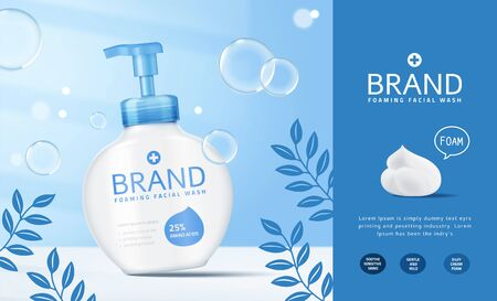 Foaming facial wash pump bottle ads with bubbles effect in 3d illustration