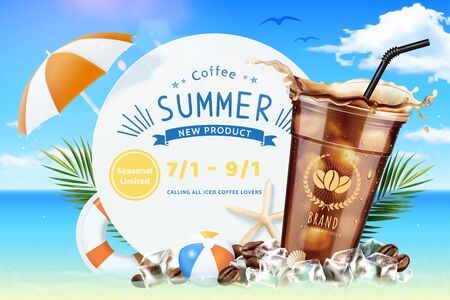 Cold brew coffee ads with summer beach decorations in 3d illustration