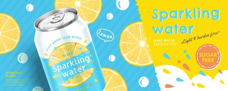 Sparkling water soda ads on lemon doodle background in 3d illustration Ilustracja