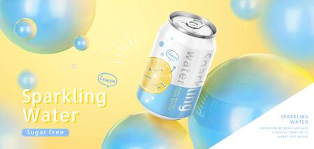 Dreamy sparkling water soda ads with blue sphere decorations on yellow background in 3d illustration Ilustração
