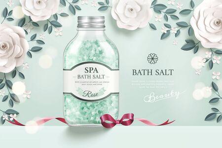 Elegant bath salt ads with white paper flowers in 3d illustration