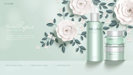 Elegant cosmetic ads with white paper flowers in 3d illustration