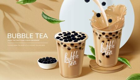 Bubble milk tea ads with pouring milk in 3d illustration Stockfoto - 131642478