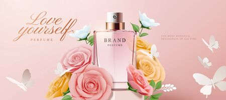 Elegant perfume banner ads with paper roses and flowers on pink background in 3d illustration Ilustração