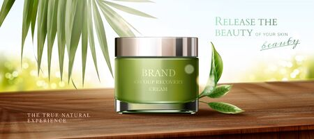 Natural green tea skincare cream jar ads on wooden table and bokeh glitter background in 3d illustration Illustration
