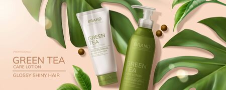 Flat lay natural green tea skincare products with tropical leaves on pink background in 3d illustration