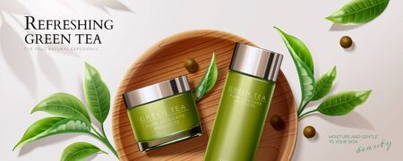 Flat lay natural green tea skincare banner ads with containers and leaves in 3d illustration