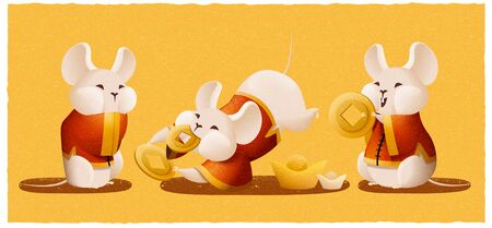 Cute mice holding gold coin on yellow for lunar year design