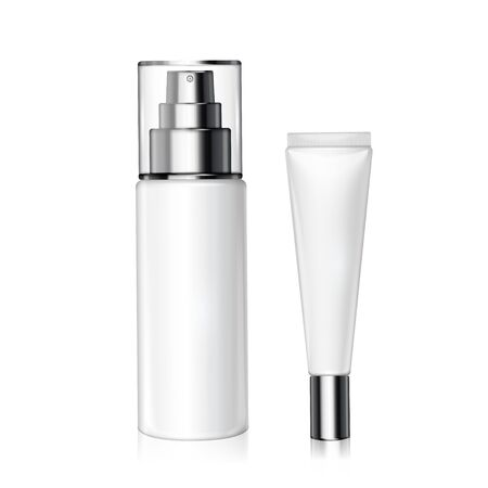 White cosmetic bottles set for design uses in 3d illustration