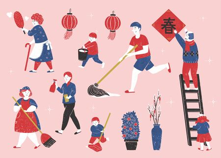 Family members doing household chores together in blue and red color tone on light pink background, spring written in Chinese words Çizim