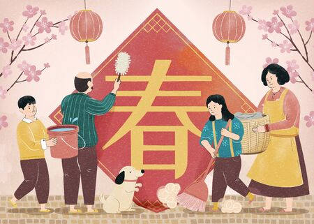 Family doing house chores together in spring festival period, spring written in Chinese words on spring couplet