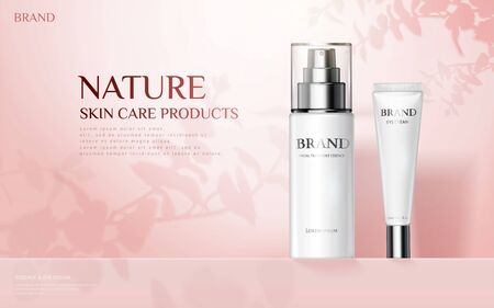 Nature skincare products ad with spray bottle and eye cream container on plant shadow pink background, 3d illustration  イラスト・ベクター素材
