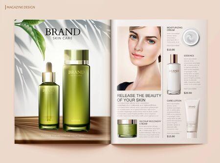 Modello di rivista per la cura della pelle rinfrescante con un bellissimo modello e più prodotti in illustrazione 3d Vettoriali