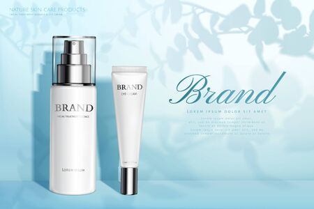 Nature skincare products ad with spray bottle and eye cream container on plant shadow blue background, 3d illustration