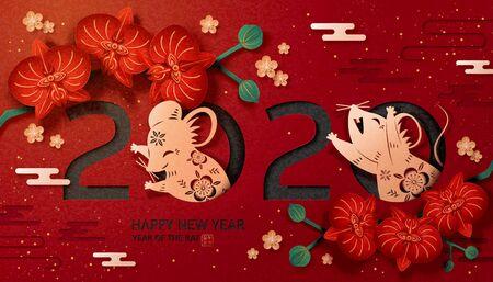 Anno lunare cinese adorabile disegno artistico della carta, topi dorati e orchidea in fiore su sfondo rosso scuro con anno di buon auspicio ratto scritto in testo cinese