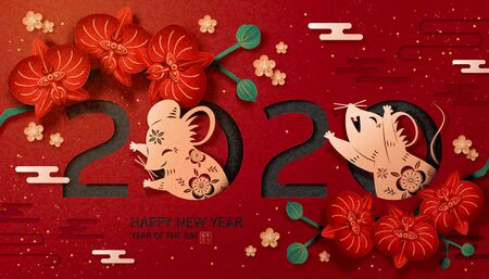 Chinese lunar year lovely paper art design, golden mice and blooming orchid on dark red background with auspicious rat year written in Chinese text