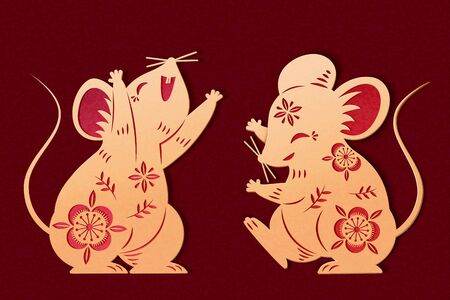 Lovely golden color paper art mice with hollow flower patterns