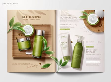 Refreshing green tea skincare product magazine template with flat lay angle in 3d illustration 向量圖像