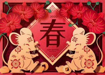 Delicate paper art mice dancing in front of doufang with orchid flowers for lunar year, Chinese text translation: Spring
