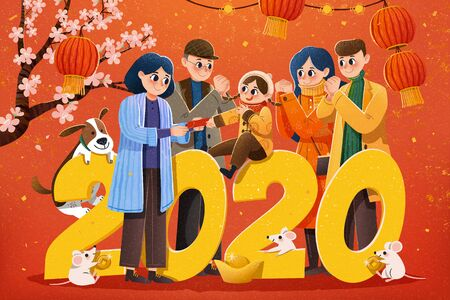 People pay a new year visit and kid gets red envelops during spring festival illustration, red background with hanging lanterns and cherry blossom