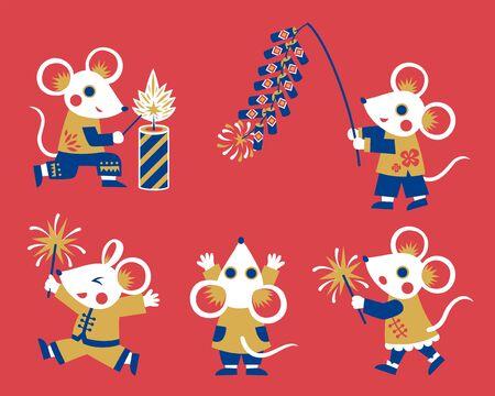 Colección de personajes de ratones blancos de diseño plano, ratas con petardos y bengalas para el año lunar