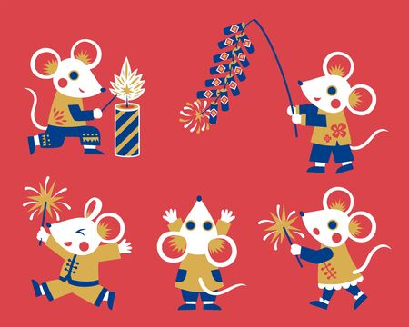 Flat design white mice character collection, rats holding firecrackers and sparklers for lunar year