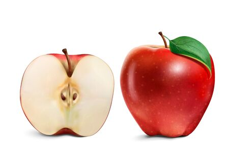 Half and whole juicy apple in 3d illustration on white background