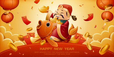 God of wealth rides on lucky carp and holds red packet for Chinese new year Illusztráció