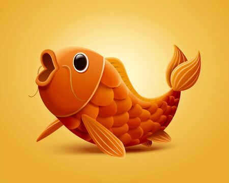 Lovely open mouth carp fish illustration isolated on yellow background